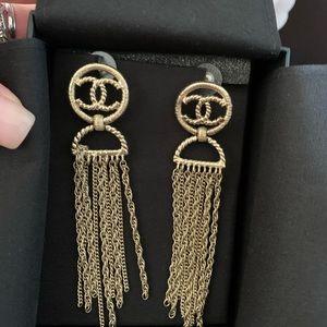 Chanel CC Logo Gold Long Chain Dangle Drop Earring
